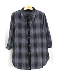 絣カシュクールシャツ