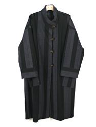 絣縞ロングコート